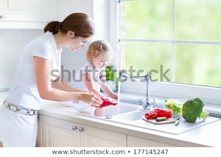 beautiful young woman ready to prerare salad Stock photo © Nobilior