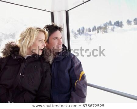лыжах · молодым · человеком · из · небе · спорт · спортивных - Сток-фото © is2