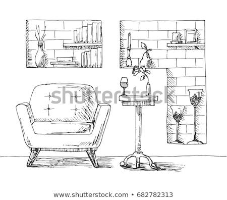 Krzesło biurko nisza ściany półki Zdjęcia stock © Arkadivna