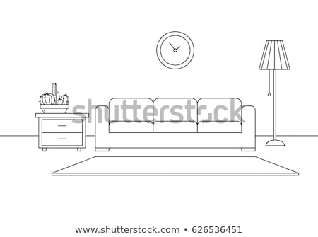 Modern interior. Sofa, lamp and bedside table. The clock hangs on the wall. Vector illustration in a Stock photo © Arkadivna