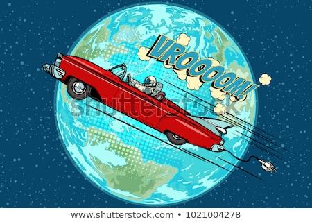 Astronauta carro elétrico planeta terra retro cômico Foto stock © studiostoks