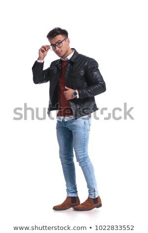 молодым · человеком · Постоянный · шкаф · полный · очки · улыбка - Сток-фото © feedough
