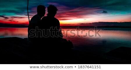 Pár befejezés dokk természet tó szabadság Stock fotó © IS2