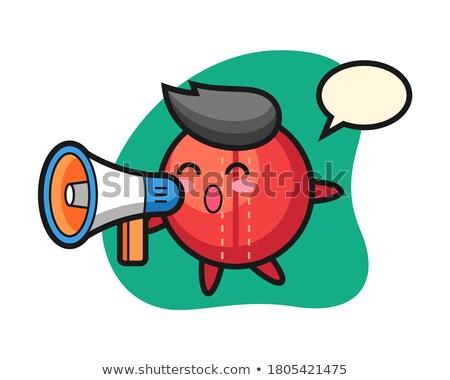 Maskot kriket megafon hayvan örnek Stok fotoğraf © lenm