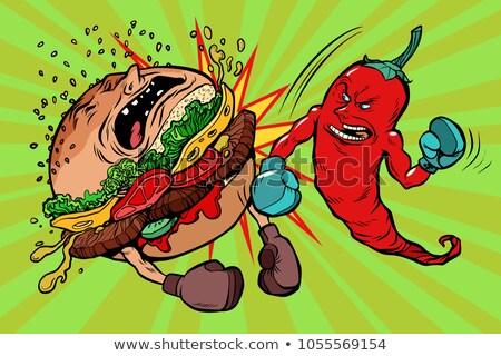 Pieprz burger wegetarianizm vs fast food pikantny Zdjęcia stock © rogistok