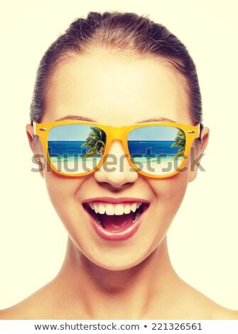 napszemüveg · pop · art · nő · wow · lány · arc - stock fotó © rogistok