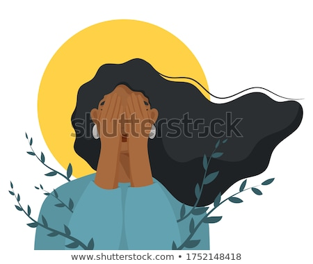 Stock photo: woman scared hands on her face. African American people