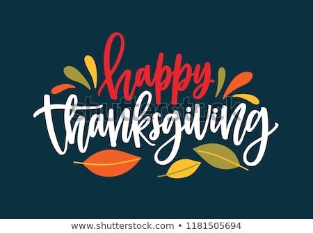 boldog · hálaadás · nap · étel · poszter · szöveg - stock fotó © konturvid