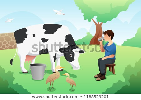 Boy Drinking Milk After Milking A Cow Illustration Stockfoto © Artisticco