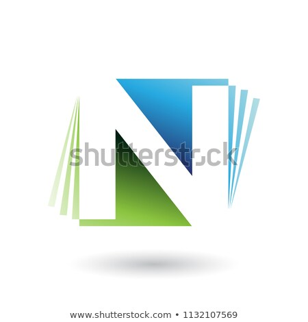 blue and green letter n with vertical stripes vector illustratio stock photo © cidepix