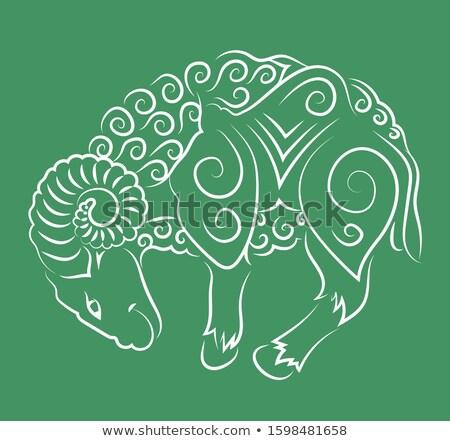 green aries or ram cartoon icon vector illustration stock photo © cidepix