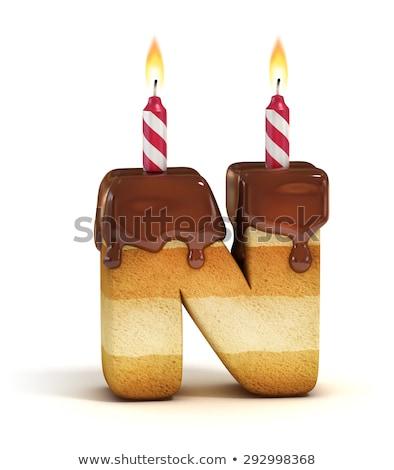 Urodziny chrzcielnica list Świeca rocznicy Zdjęcia stock © popaukropa