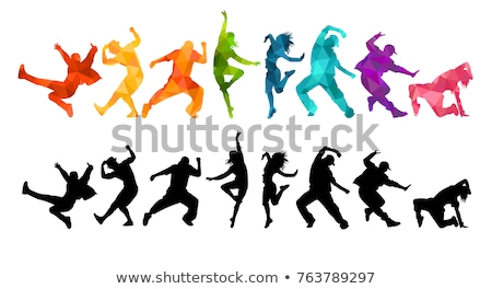 silhouette · danse · femme · mains · printemps · homme - photo stock © lemony