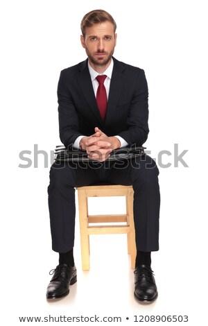 Aggódó üzletember ül pálmafák együtt bőrönd Stock fotó © feedough