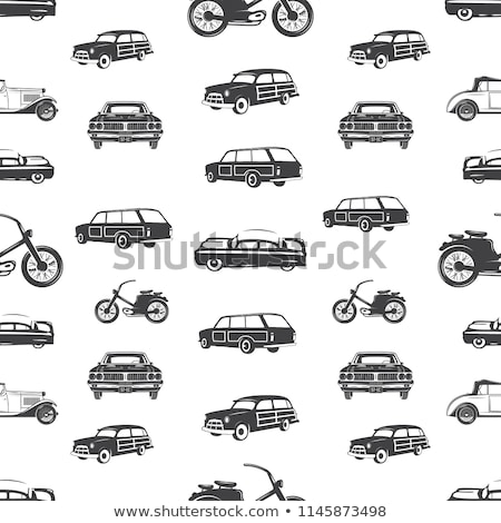 surfing transport seamless pattern retro surf car motorcycle wallpaper background in monochrome st stock photo © jeksongraphics