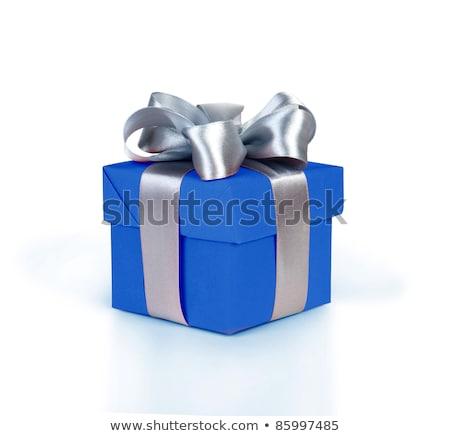 Stock fotó: Kék · ajándék · doboz · íj · papír · textúra · hópelyhek · izolált