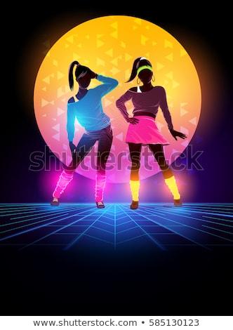 80s neon danser prachtig jonge brunette Stockfoto © lithian