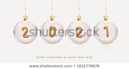 Stock fotó: Vidám · karácsony · illusztráció · arany · üveg · labda