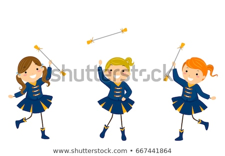 Stickman Kids Girls Majorette Exhibition Stock photo © lenm