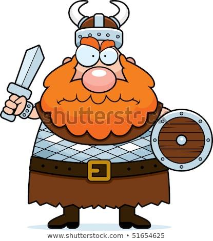 Karikatür öfkeli viking adam bakıyor Stok fotoğraf © cthoman