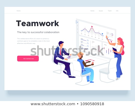 workplace with laptop   modern vector isometric illustration stock photo © decorwithme
