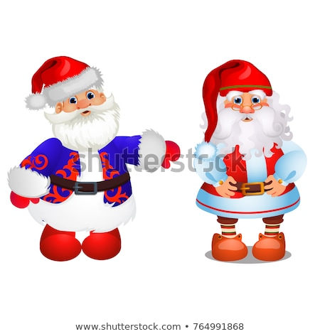 Set of animated Santa Claus in red and blue Christmas costume isolated on white background. Sample o Stock photo © Lady-Luck