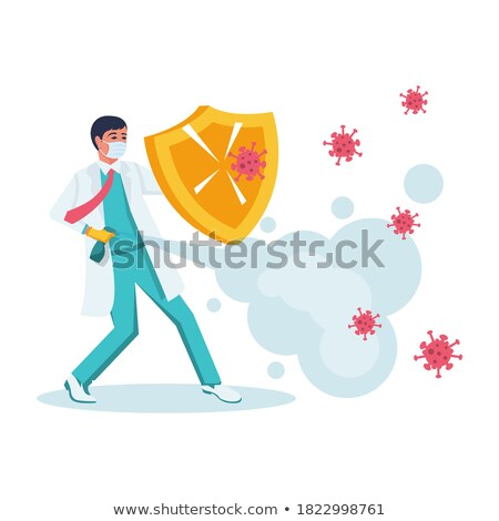 Doctor Reflecting Bacterium Attack Vector. Isolated Cartoon Illustration Stock photo © pikepicture