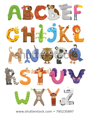 zoo abc letter with cute alligator cartoon vector stock photo © robuart