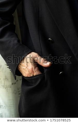 fiatal · vőlegény · fekete · csokornyakkendő · áll · kezek - stock fotó © feedough