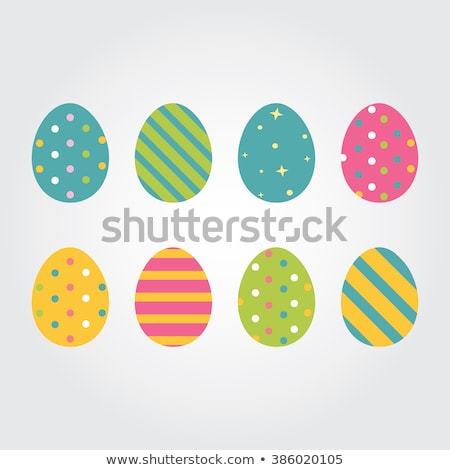 set of colorful easter eggs with patterns isolated on white background vector cartoon close up illu stock photo © lady-luck