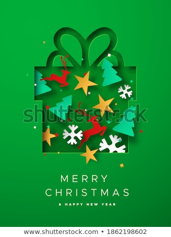 merry christmas paper cut with pine and presents stock photo © robuart