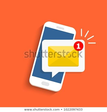 bejövő · üzenetek · ikon · fehér · kék · nyíl · tárgy - stock fotó © cifotart
