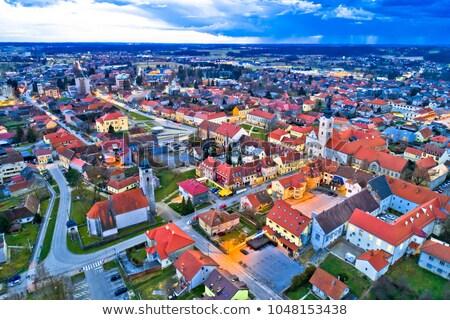 Town of Krizevci aerial panoramic view stock photo © xbrchx