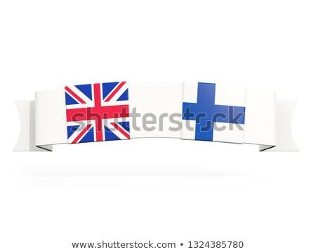 Afiş iki kare bayraklar Büyük Britanya Finlandiya Stok fotoğraf © MikhailMishchenko