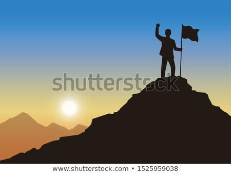 ストックフォト: ビジネスマン · 先頭 · 山 · フラグ · ハンサム