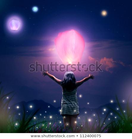 Lányok repülés lámpások illusztráció gyerekek tűz Stock fotó © adrenalina
