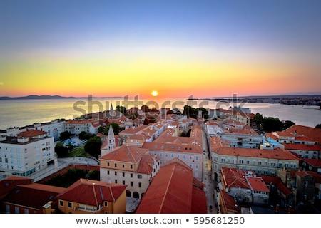 Miasta widok z lotu ptaka region Chorwacja niebo domu Zdjęcia stock © xbrchx