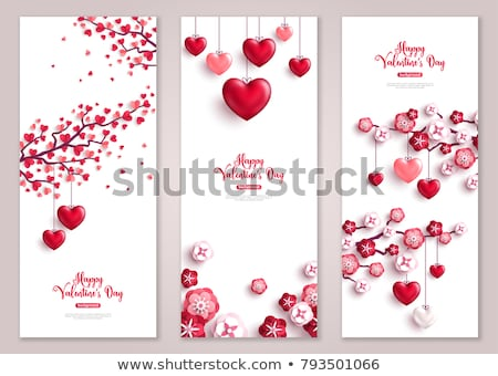 Valentine card template with heart tree Stock photo © colematt