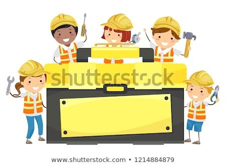 Kinder Werkzeugkasten halten Werkzeuge Illustration Bau Stock foto © lenm