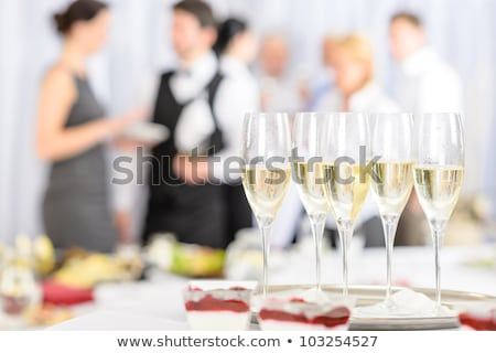 Wedding or Banquet Table with Cake and Champagne Stock fotó © robuart