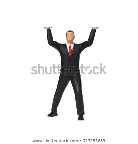 A Man Holding A Miniature Business Office Work Space Stock photo © solarseven