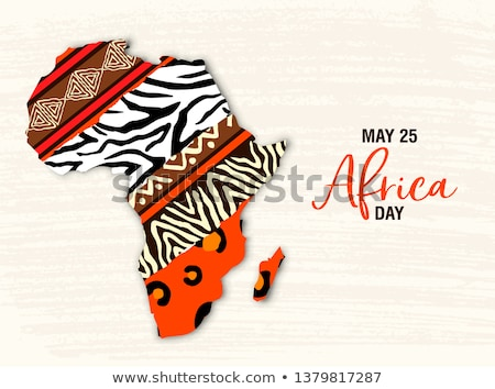 May 25 Africa Day card of wild animal african map Stock photo © cienpies