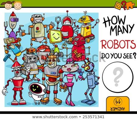 robots counting game cartoon illustration stock photo © izakowski