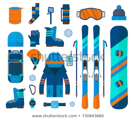 Kayak · yalıtılmış · kayakçılık · dişli · ayarlamak · vektör - stok fotoğraf © netkov1