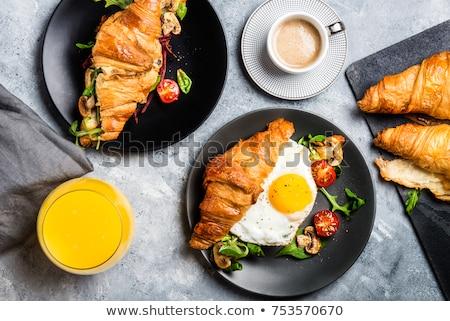 Kahve portakal suyu kruvasan sandviç ahşap masa fransız Stok fotoğraf © karandaev