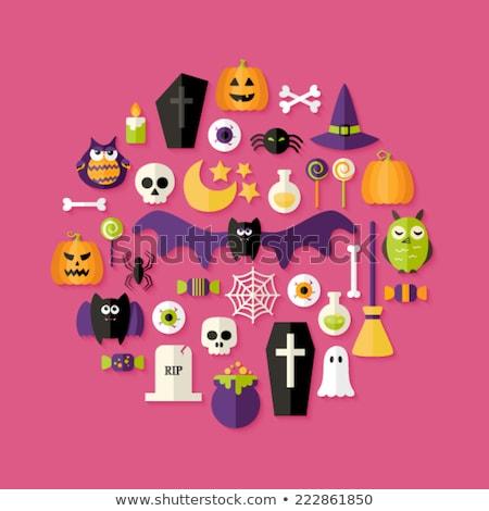 Halloween ikon szett felirat jókedv fekete kalap Stock fotó © netkov1