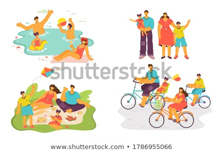 Man on Beach Having Fun with Kite, Isolated Person Stock photo © robuart