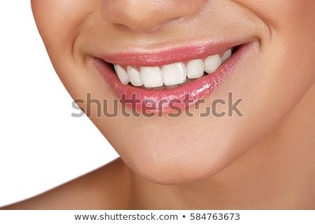 Macro feliz sorrir saudável dentes brancos lábios rosados Foto stock © serdechny