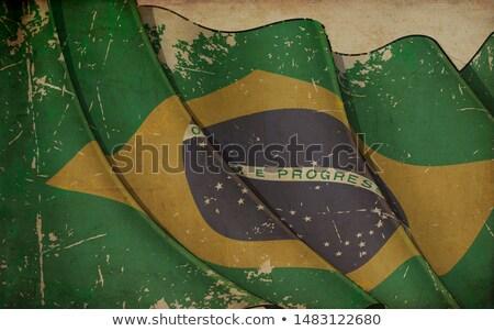 старой бумаги печать флаг Бразилия иллюстрация Сток-фото © nazlisart