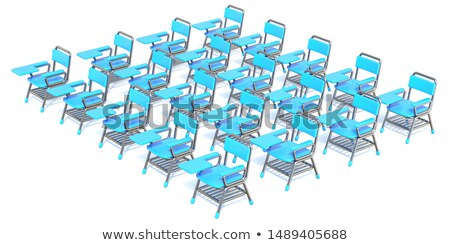 Group of twenty blue student chairs 3D render orthographic Stock photo © djmilic